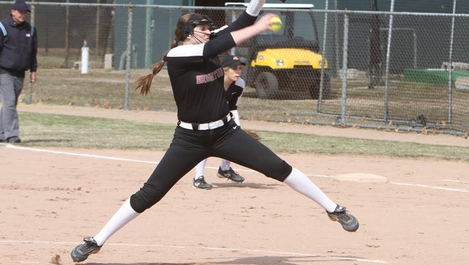 Brighton's Chloe Haskins pitched a two-hitter and struck out 12 in a 3-0 victory over Grand Blanc.