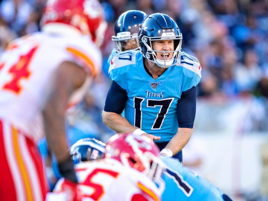 NASHVILLE, TN - NOVEMBER 10:  Ryan Tannehill #17 of the Tennessee Titans calls out the play during the second half of a game against the Kansas City Chiefs at Nissan Stadium on November 10, 2019 in Nashville, Tennessee.  The Titans defeated the Chiefs 35-32.  (Photo by Wesley Hitt/Getty Images)