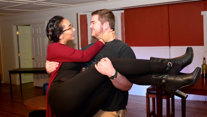 """Mehitable Cartwright (Emily Anthony) and Sample Switchel (Caleb Anderson) are the couple in love in the Wichita Theatre's  """"Ten Nights in a Bar Room."""""""