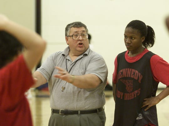 FILE: Kennedy High School girls basketball coach Lou Bonora gives directions at a practice on  Wed., Feb. 15, 2001.