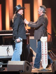 Trace Adkins and Blake Shelton perform on the Grand Ole Opry.