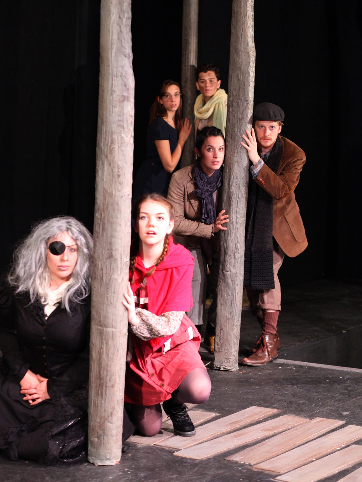 "Starring in the Cider Mill Playhouse production of ""Into the Woods"" in 2014 were, from front to back, Erin Wilson, Keara Byron, Rachel O'Malley, Josh Sedelmeyer, Emily Goodell and Matt Skrovan."