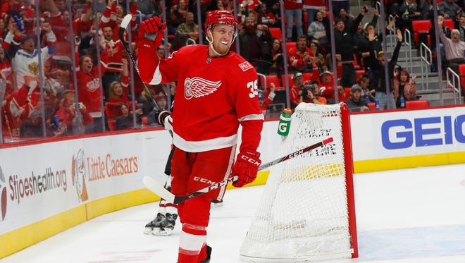 Red Wings forward Anthony Mantha (39) celebrates his goal against the Coyotes in the second period on Tuesday, Oct. 31, 2017, in Little Caesars Arena.