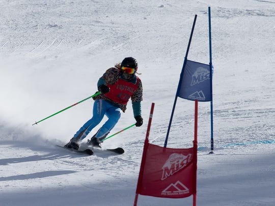 Foothill High's Lindsey Ferguson competes in the girls ski race Monday at Mt. Shasta Ski Park.