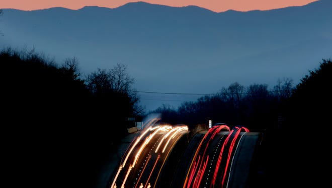 Traffic flows down the Pellissippi Parkway outside of Knoxville, Tennessee on Wednesday, January 18, 2017.