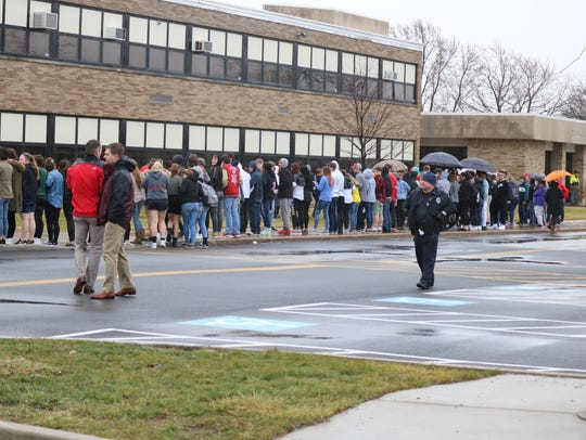 Officers from the Port Clinton Police Department were on the scene to ensure student safety during the demonstration.