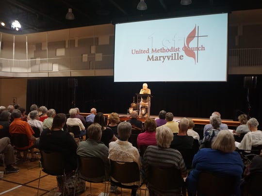 A crowd listens to a talk by David Billings, the author of a book about white supremacy, at First United Methodist Church in Maryville on Sunday, May 27, 2018.