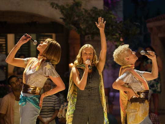 "In ""Mamma Mia! Here We Go Again,"" Sophie (Amanda Seyfried, center) gets a chance to sing with   Tanya (Christine Baranski, left) Rosie (Julie Walters)."