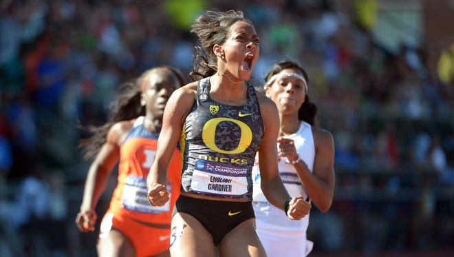 Jun 7, 2013; Eugene, OR, USA; English Gardner celebrates after winning the womens 100m in 10.96 in the 2013 NCAA Championships at Hayward Field. Mandatory Credit: Kirby Lee-USA TODAY Sports