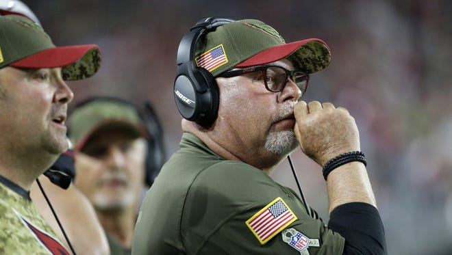 Arizona Cardinals head coach Bruce Arians against the Seattle Seahawks in the first half.
