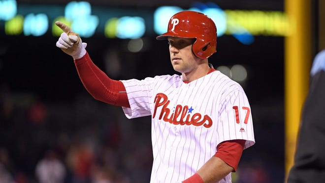 Rhys Hoskins had 14 home runs and 32 RBI in his first 30 days with the Phillies.