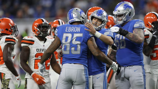 Matthew Stafford and Eric Ebron celebrate their fourth-quarter touchdown against the Cleveland Browns on Nov. 12, 2017.