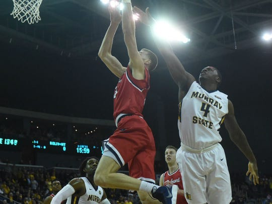 Belmont's Dyan Windler shoots over Murray State's Brian