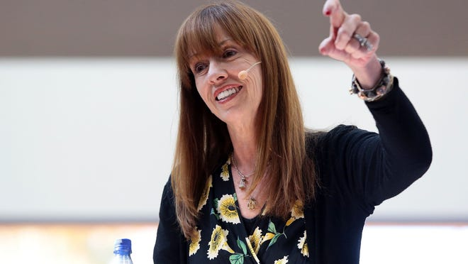 Mackenzie Phillips speaks about addiction on Oct. 5 at the Palm Springs Public Library during a dedication for the library's new addiction and recovery resource center.
