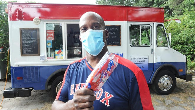 Leroy Lynch, of Brockton, who runs a family owned ice cream truck, E's Ice Cream and More, Tuesday, Aug. 11, 2020.