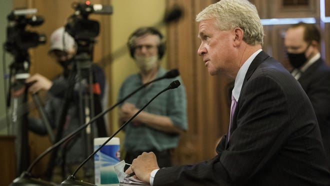 Illinois House Minority Leader Jim Durkin, R-Western Springs, addresses the Special Investigating Committee II on Thursday at the Illinois Capitol. The committee is looking into House Speaker Michael Madigan's role in a bribery scandal involving utility giant Commonwealth Edison.