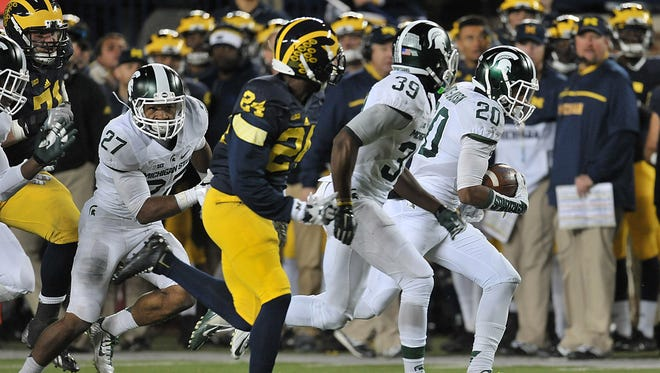 Jalen Watts-Jackson returns the fumbled punt for a TD on the final play to beat Michigan last season.