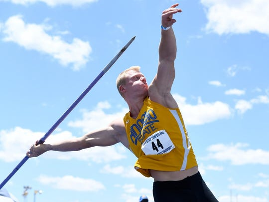 Angelo State University's Nils Fischer is the defending NCAA II national champion in the men's javelin throw.