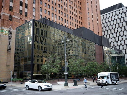 This building at 511 Woodward dates to 1972 and is notable for its reflective glass.
