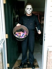 """Adam Krause, director of """"Gags,"""" in his favorite Halloween costume: Michael Myers."""