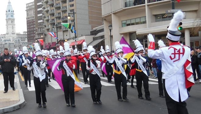 Tournament of Bands All Star Marching Band performs at the Philadelphia Thanksgiving Day Parade in 2016.