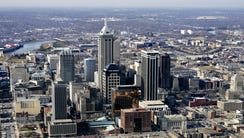 Downtown Indianapolis looking west in this aerial view
