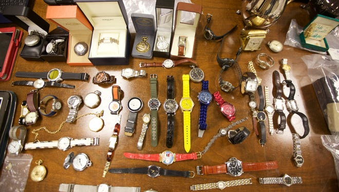 Expensive watches were among the loot recovered after Thomas Earls was arrested on a burglary charge in Little Silver in 2015.