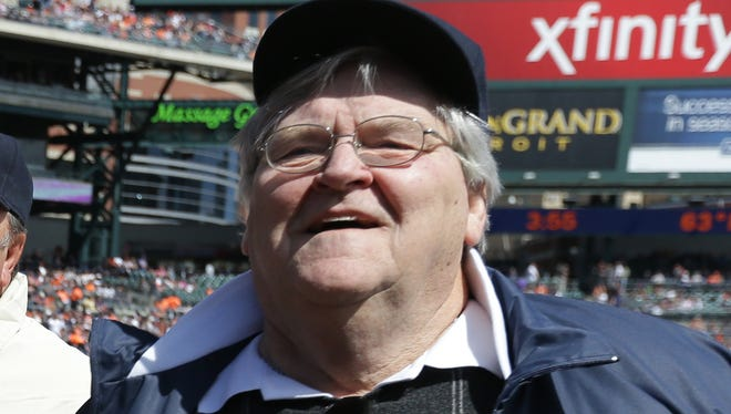 Former Detroit Tigers starting pitcher Denny McLain visits Comerica Park before a game on May 25, 2013.