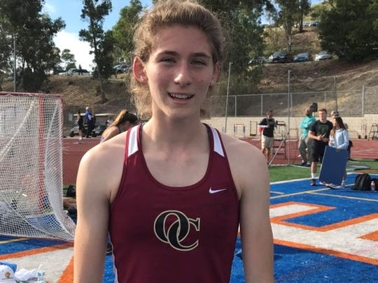 Oaks Christian senior Carolyn Wilson improved her league record in the 400 meters, winning in 54.44, at the Marmonte League Track and Field Championships on Friday at Westlake High.