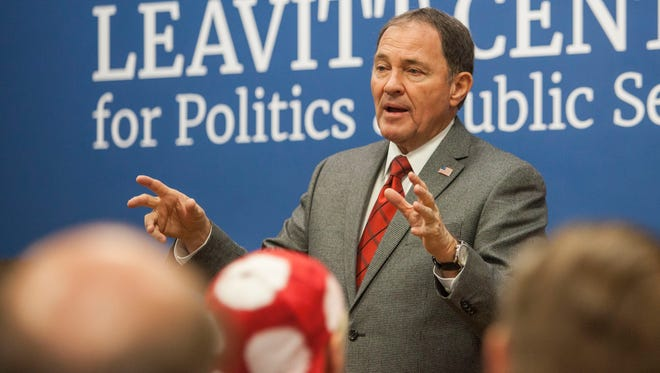Governor Gary Herbert talks to students at Southern Utah University during an event with the Michael O. Leavitt Center for Politics and Public Service on Friday, Oct. 14, 2016.