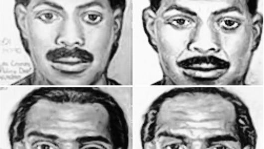 Artist's renderings of the suspects who committed the Bowling Alley Massacre in 1990, left, and what the suspect might look like 25 years later.