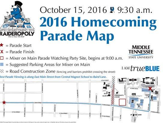 Homecoming parade map