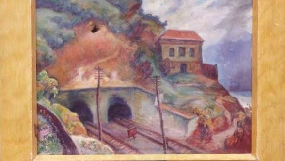 """Tunnel by the Hudson by Isaac Fastovsky is one of the paintings in the """"Changing Landscape: Architecture in American Scene Painting in the 1930s"""" exhibit. It has a hole resulting from damage while stored."""