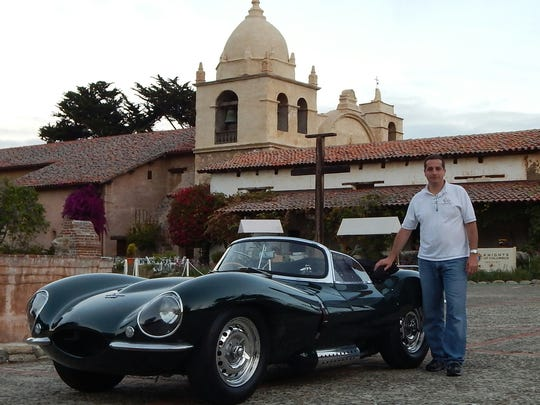 Richard Pepe stands in Carmel, California, with a vintage Jaguar that he said had belonged to the late actor Steve McQueen.