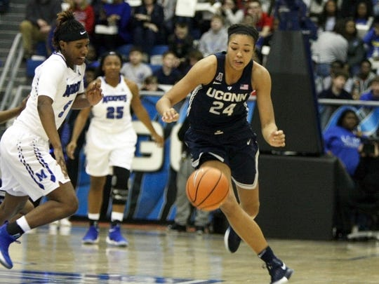 Connecticut's Napheesa Collier (24) goes after a loose ball with Memphis' Brea Elmore (5) in the first half of an NCAA college basketball game Wednesday, Jan. 24, 2018, in Memphis, Tenn. (AP Photo/Karen Pulfer Focht)