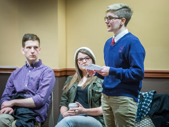Carli Hendershot (right) talks to board members during the Board of Trustees meeting at Ball State Friday.