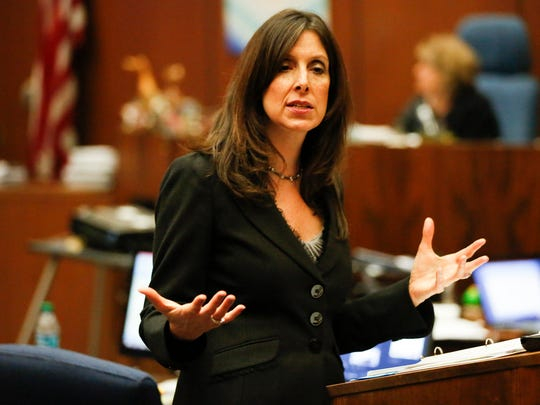 """In this Monday, May 2, 2016 file photo, Deputy District Attorney Beth Silverman details the evidence against defendant Lonnie Franklin Jr. in Los Angeles Superior Court during closing arguments of Franklin's trial, in Los Angeles. Los Angeles prosecutors plan to present evidence of five more killings against the man convicted in the """"Grim Sleeper"""" murders. Prosecutors will begin laying out their case Thursday, May 12, 2016, for the death penalty for Franklin Jr. after his convictions in the serial killings that spanned more than two decades."""