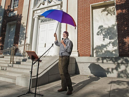 Bill Lippert of Hinesburg celebrates at a rally to mark the Supreme Court's ruling affirming same-sex marriage in Burlington on Friday, June 26, 2015. Lippert, who represents Hinesburg in the legislature, was involved in the civil unions debate prompted by the Vermont Supreme Court's Baker decision.