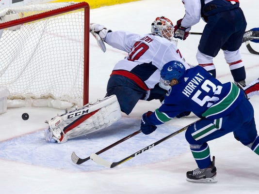 Vancouver Canucks' Bo Horvat scores on Washington Capitals goalie Braden Holtby during the first period of an NHL hockey game, Thursday, Oct. 26, 2017 in Vancouver, British Columbia. (Ric Ernst/The Canadian Press via AP)