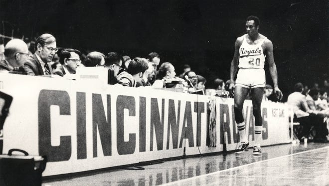 Cincinnati Royals forward Johnny Green entered the final home game at Cincinnati Gardens before the team moved to Kansas City in 1972.
