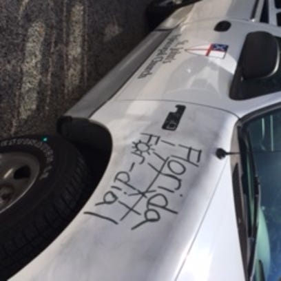 The FBI and local police are investigating graffiti