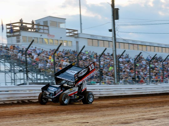 """""""World of Outlaws driver Donny Schatz drives his hot laps on Friday, July 24, 2015, during the first night of Summer Nationals at Williams Grove Speedway in Mechanicsburg. The event, pitting the Pennsylvania Posse against the World of Outlaws, featured 39 drivers."""