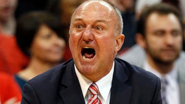 Ohio State coach Thad Matta reacts to a call during the second half of an NCAA college basketball game against Michigan State in Columbus, Ohio, Sunday, Jan. 15, 2017. (AP Photo/Paul Vernon)