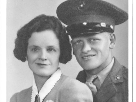 Marine Pvt. Palmer Haraldson and his wife, Patricia,