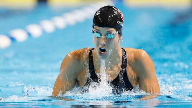 Maya DiRado races in the women's 400 individual medley finals in the U.S. Olympic swimming team trials at CenturyLink Center in Omaha on June 26.