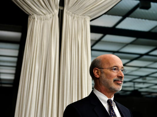Gubernatorial candidate Tom Wolf awaits the beginning of a forum held for the Democratic candidates at Lehigh University in January. (FILE)