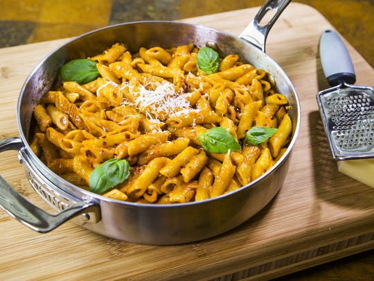 Robin Miller has come up with four skillet dinners that are easy to make, including this skillet penne ala vodka.
