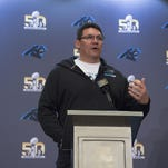 Panthers head coach Ron Rivera addresses the media in a press conference prior to Super Bowl 50 at San Jose Convention Center.
