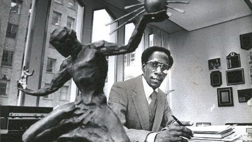 Leon Atchison in shown in his office at the Michigan Consolidated Gas Company after his service in the Coleman Young administration.
