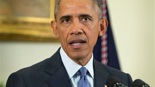 In this Oct. 15, 2015, photo, President Barack Obama speaks about Afghanistan, in the Roosevelt Room of the White House in Washington. One week after reversing his pledge to pull American troops out of Afghanistan before he leaves office, Obama is turning to two political dimensions of the war. One is the Taliban's use of Pakistani territory as sanctuary. The other is the set of obstacles to a negotiated Afghan peace deal. Obama is welcoming Pakistani Prime Minister Nawaz Sharif to the White House on Oct. 22 for talks also are expected to touch on the future of U.S. financial assistance to Islamabad and prospects for Pakistani acceptance of limits on the scope of its nuclear weapons arsenal.  (AP Photo/Pablo Martinez Monsivais)